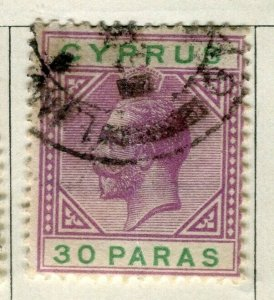CYPRUS; 1921 early GV issue fine used 30pa. value