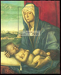 Uganda 1384, MNH, Christmas 1995, Madonna and Child Painting souvenir sheet