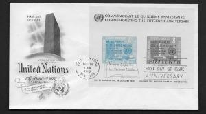 United Nations First Day of Issue Oct 24, 1960 UN 15th Anniversary