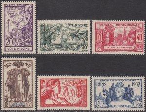 Ivory Coast 152-157 MVLH CV $11.20