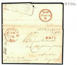 USA Cover GB TRANSATLANTIC Maine *Gardiner* 1835 Per Liverpool Ship Letter S139a