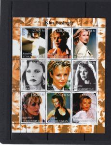 Turkmenistan 2000 KIM BASINGER  American Actress Sheetlet (9) MNH