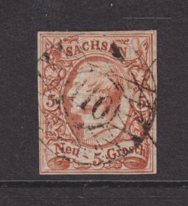 Saxony Sc 13a used 1860 5ng King John, 110 numeral cancel, VF