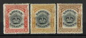 Labuan SG# 121, 123 & 125, Mint Hinged, Hinge Remnant, see notes - S1396