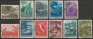 Suriname 1953-55 Sc 253-63 set used