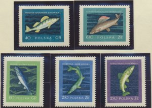 Poland Stamps Scott #810 To 814, Mint Hinged