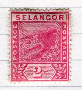 MALAYA  SELANGOR 1891 classic Tiger issue Mint hinged  2c. value