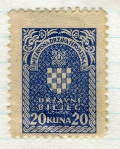 CROATIA; 1940s early classic Revenue/Fiscal issue fine mint 20k. value