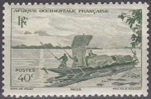 French West Africa, Sc 38, MH, 1947, Trading Canoe