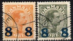 Denmark #161-2  F-VF Used  CV $20.00  (X1536)