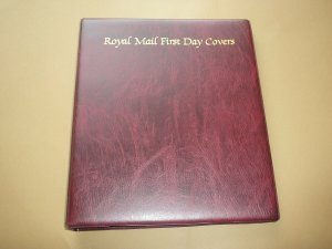 ROYAL MAIL MAROON FIRST DAY COVER ALBUM (EMPTY) WITH 18 LEAVES VGC USED