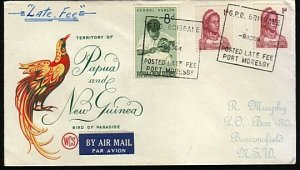 PAPUA NEW GUINEA 1964 cover GPO BRISBANE POSTED LATE FEE PORT MORESBY......18128