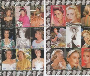 Grace Kelly Actor Princess of Monaco 2002 Souvenir Stamp Sheet Benin E3-4