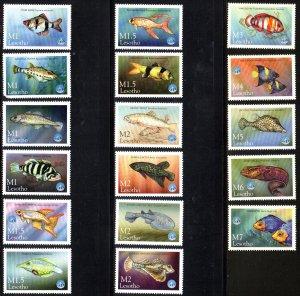 LESOTHO 1125-41 MNH SCV $17.50 BIN $10.50 FISH