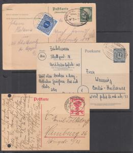 Germany, 3 different Postal Cards, all with BAHNPOST cancels, Czech Postage due