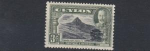 CEYLON  1935 - 36     S G 369   3C BLACK & GREEN      MH