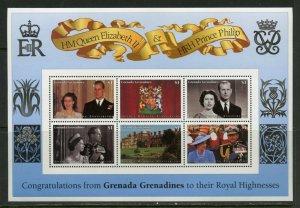 GRENADA GRENADINES GOLDEN WEDDING QUEEN ELIZABETH II &  PHILIP SHEET MINT NH