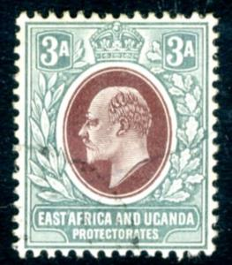 EAST AFRICA & UGANDA-1904-07 3a Brown-Purple & Green Sg 22 FINE USED V15528