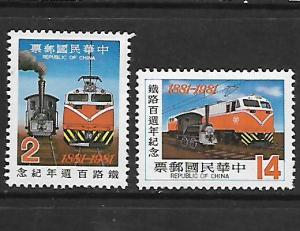 CHINA, 2244-2245, MINT HINGED, EARLY AND MODERN LOCOMOTIVE