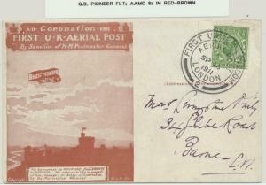GB 1911 PIONEER FLIGHT CARD AERIAL POST, AAMC8a IN RED BROWN (SEE BELOW)