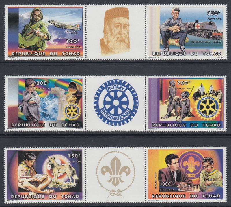 Chad Sc 695-697 MNH. 1996 Red Cross, Scouts & Rotary International Strips