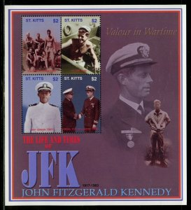ST. KITTS THE LIFE & TIMES OF JOHN F. KENNEDY  SHEET II  MINT NEVER  HINGED