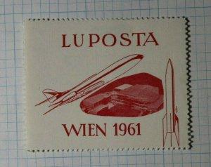 LU POSTA Wien 1961 Austria Germany Rocket Philatelic Souvenir Ad Label