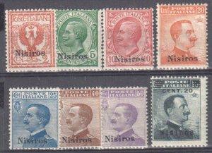 Nisiros (Italia) #1, 2, 3, 5 to 8, 11  MINT LH