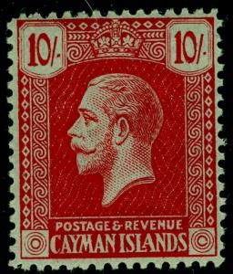CAYMAN ISLANDS SG65, 10s red, NH MINT. Cat £60+. WMK MULT CA.