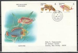Hong Kong, Scott cat. 369-370 only. Fish values from set. First day cover.