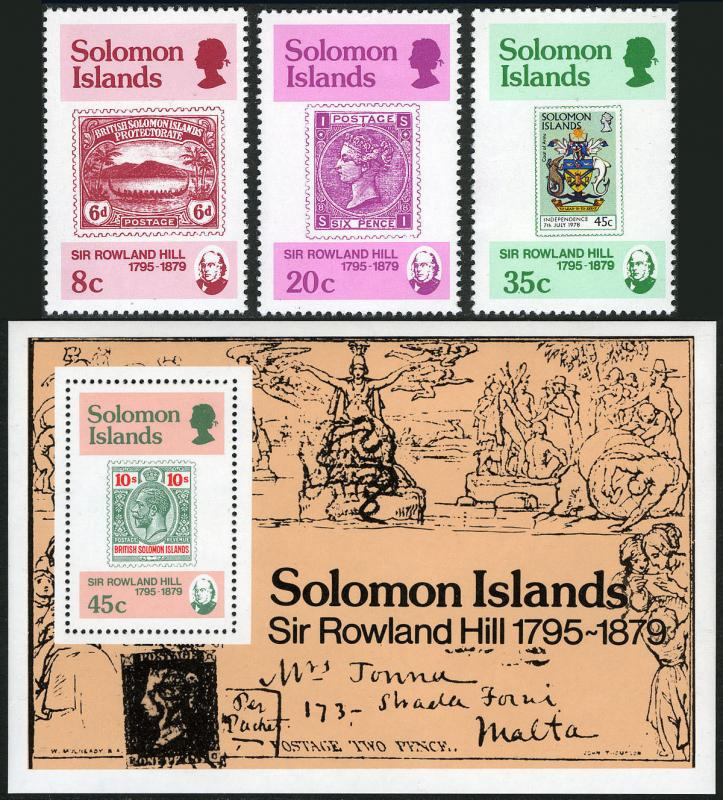 Solomon Islands 393-396,MI 381-383,Bl.6,MNH.Sir Rowland Hill,Stamp on Stamp,1979