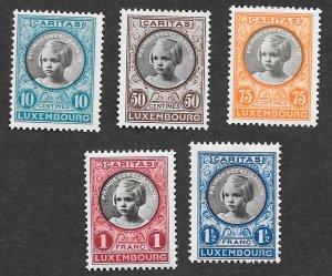 Luxembourg Scott #B25-B29 Princess Elisabeth (1927) MH