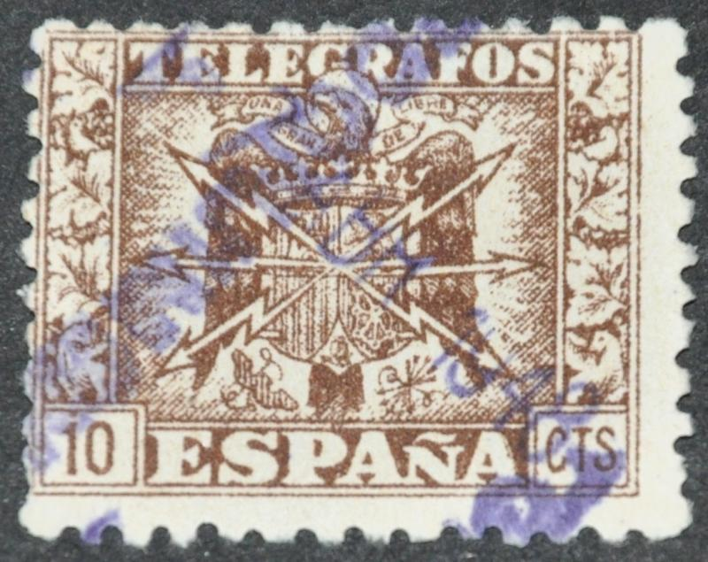 DYNAMITE Stamps Spain Telegrafos 10cts USED HipStamp