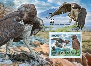 GUINEA 2013 SHEET WWF WILDLIFE LES RAPACES BIRDS OF PREY OISEAUX PROIE gu13301b