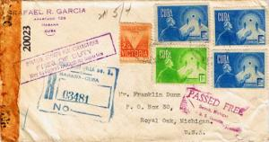 Cuba 1c and 5c (3) Retirement Security and 1/2c Victory Postal Tax 1944 Haban...