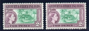 Gilbert & Ellice Is 1956 QEII 2d in both listed shades superb MNH. SG 66, 66a.