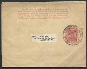 BR GUIANA 1900 2c newspaper wrapper used to London.........................61457