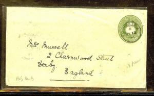BRITISH EAST AFRICA (P0210B) 2 1/2A SUN PSE 1894 SENT TO ENGLAND