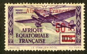 FRENCH EQUATORIAL AFRICA C15 MH SCV $12.00 BIN $5.50 AIRPLANE