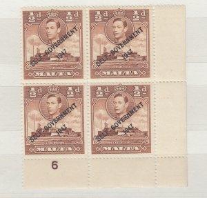 Malta KGVI 1948 1/2d Brown Block Of 4 SG235a MNH J6666