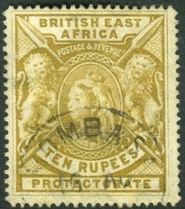 BRITISH EAST AFRICA-1897-1903 10r Yellow-Bistre.  A fine used example Sg 97