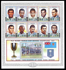 Fiji 805, MNH, 1997 Rugby World Cup Champions miniature sheet