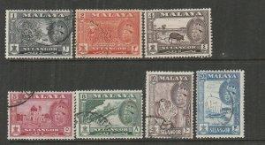 Malaya Selangor 1961/2 Defs, set of 7 Used SG 129/35