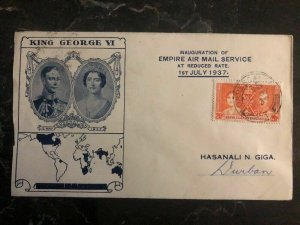 1937 DaresSalaam KUT FFC First Flight Cover Coronation King George VI To Durban
