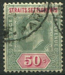 STRAITS SETTLEMENTS-1906 50c Dull Green & Carmine chalk Sg 135b GU V50193