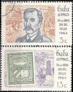 CUBA Sc# 828-829  STAMP DAY philately collecting  CPL SET of 2  1964  used