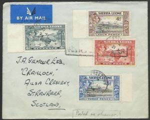 SIERRA LEONE 1954 cover to UK, ex Kaduna POSTED ON STEAMER.................57015