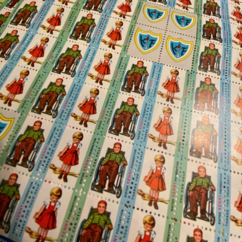 Vintage Sister Elizabeth Kenny charity stamps seals cinderellas