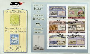 Trinidad & Tobago 2018 FDC Philatelic Society 6v M/S Cover Stamps-on-Stamps