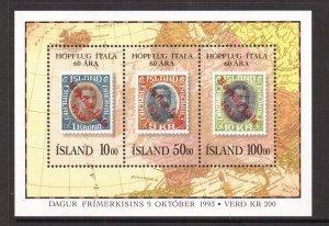 Iceland   #772   MNH  1993  sheet  Italian group flight